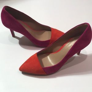 Audrey Brooke Pink/Orange Suede Heels